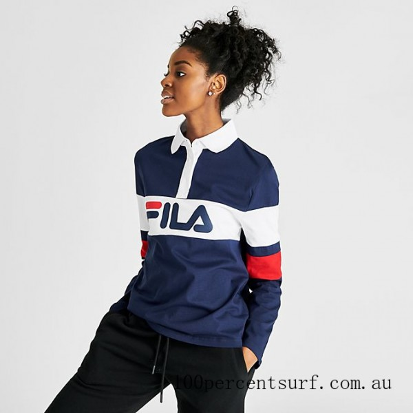 Women's Fila Jacqualine Polo Shirt Navy/White/Red On Sale
