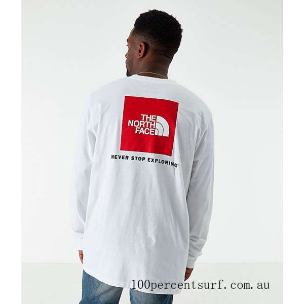 Black Friday 2021 Men's The North Face Box Long-Sleeve T-Shirt White Clearance Sale