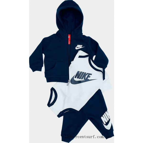 Infant Nike Hoodie Onesie and Pants Box Gift Set Obsidian/White On Sale