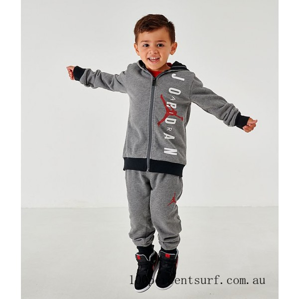 Black Friday 2021 Boys' Infant and Toddler Jordan Full-Zip Hoodie and Pants Set Mid Grey Clearance Sale