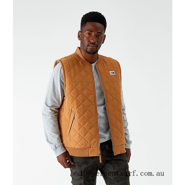 Black Friday 2021 Men's The North Face Cuchillo Insulated Vest Cedar Brown Clearance Sale