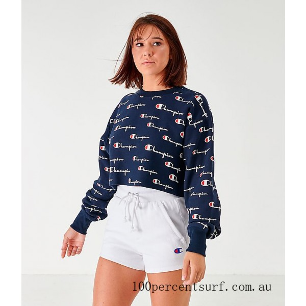 Women's Champion Reverse Weave Allover Print Cropped Crewneck Sweatshirt Navy/All Over Print On Sale