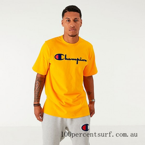 Black Friday 2021 Men's Champion Flocked T-Shirt Gold Clearance Sale