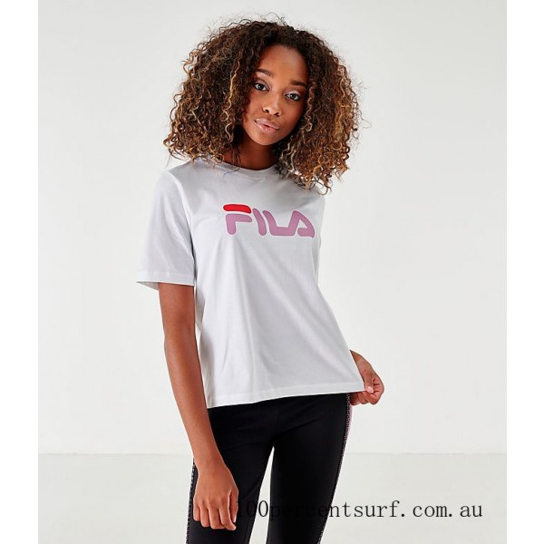 Women's Fila Miss Eagle T-Shirt White/Pink/Red On Sale