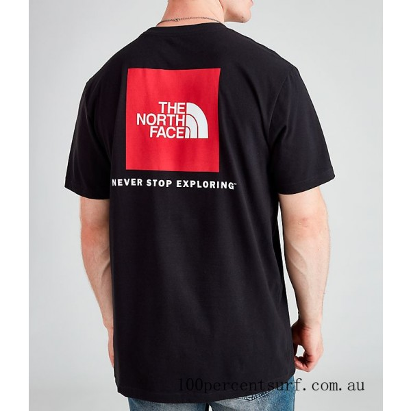 Men's The North Face Box T-Shirt Black/Red On Sale