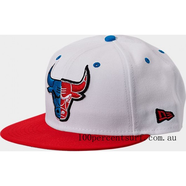 New Era Chicago Bulls NBA Split Color 9FIFTY Snapback Hat White/Red/Blue On Sale