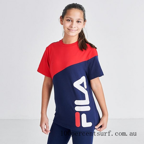 Kids' Fila Oden Colorblock T-Shirt Red On Sale