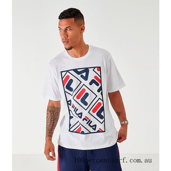 Black Friday 2021 Men's Fila Ado Graphic T-Shirt White/Navy/Red Clearance Sale