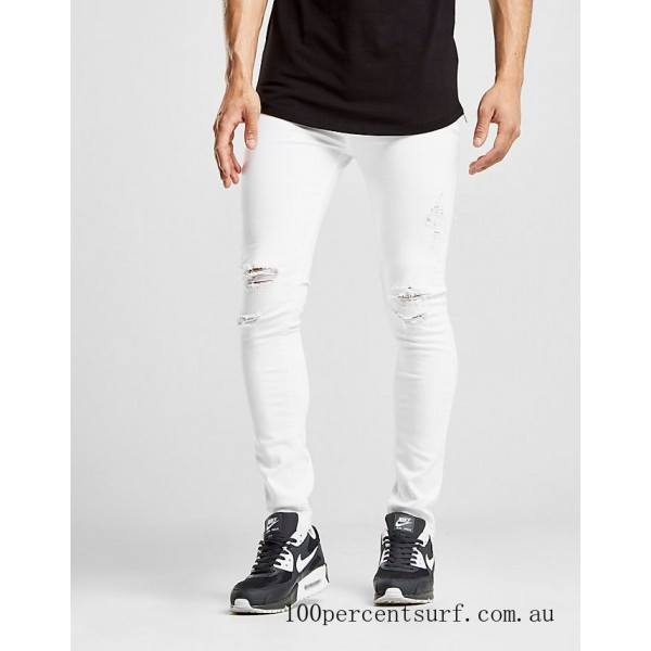 Men's Supply & Demand Essential Distressed Skinny Jeans White On Sale