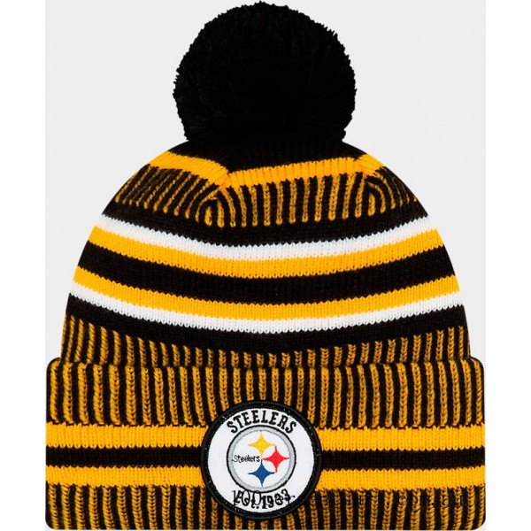 New Era Pittsburgh Steelers NFL Home Striped Sideline Beanie Hat Team Colors On Sale