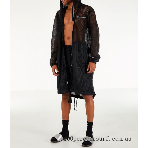 Black Friday 2021 Men's Champion Mesh Hooded Trench Coat Black Clearance Sale