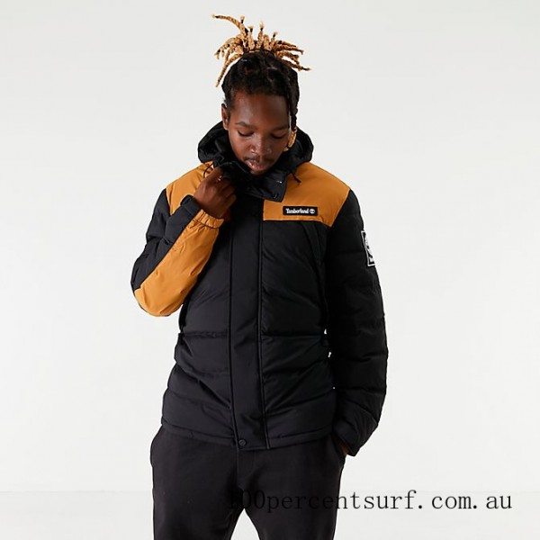 Black Friday 2021 Men's Timberland Puffer Jacket Black/Wheat Clearance Sale