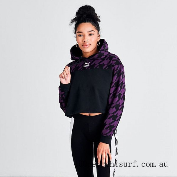 Women's Puma Trend Houndstooth Pullover Hoodie Plum/Houndstooth On Sale