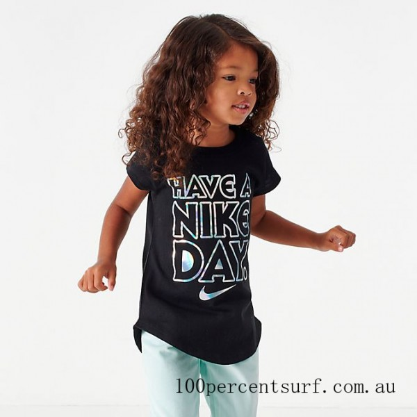 Girls' Little Kids' Have A Nike Day T-Shirt Black On Sale