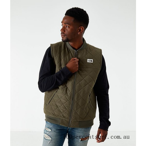 Men's The North Face Cuchillo Insulated Vest Taupe Green On Sale