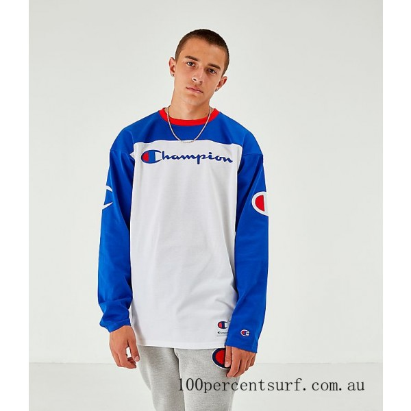 Black Friday 2021 Men's Champion Long-Sleeve Football Jersey T-Shirt White/Royal Clearance Sale