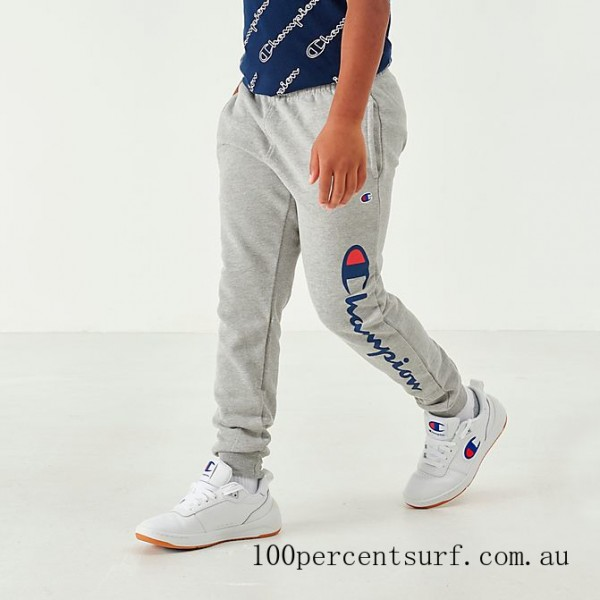 Black Friday 2021 Boys' Champion Heritage Graphic Jogger Pants Heather Grey Clearance Sale