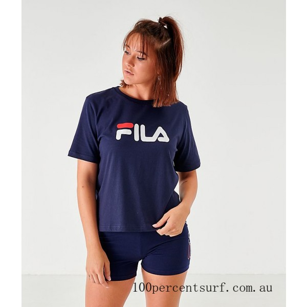 Women's Fila Miss Eagle T-Shirt Navy/White/Red On Sale