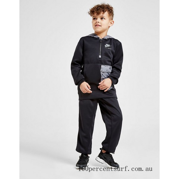 Black Friday 2021 Boys' Toddler and Little Kids' Nike Air Max Half-Zip Hoodie and Jogger Pants Set Black Clearance Sale